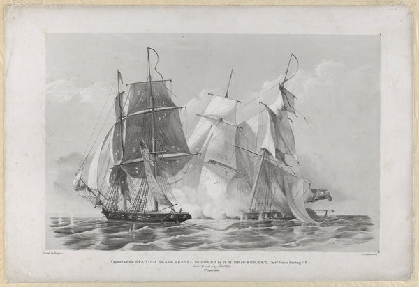 Capture of the Spanish slave vessel 'Dolores' by H.M. brig 'Ferret' 4 April 1816